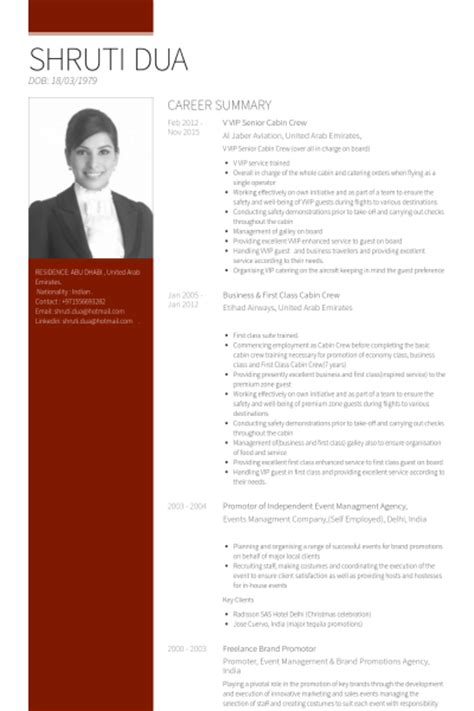 Resume for the post of cabin crew png 400x600